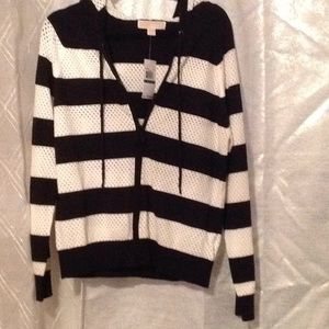 L/S hoodie  pointelle yarn dye stripe jacket